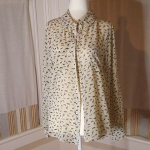 Size large sheer cream and black print blouse